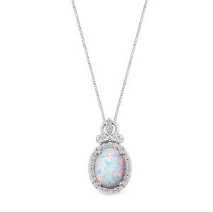 Disney Collection Opal Silver Necklace